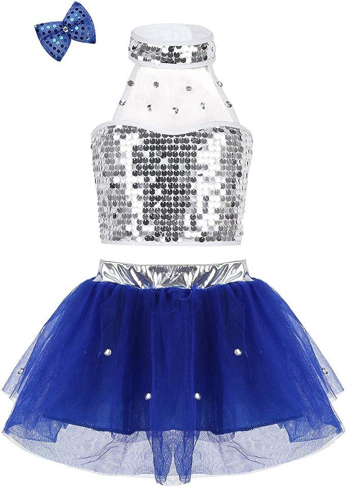 Agoky Vestido de Danza Ballet Lentejuelas para Niña Maillot de ...