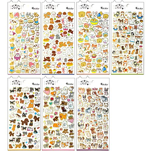Dog and Cat Sticker - 7 Different Sheets Decorative Scrapbooking Sticker with Pug Poodle Corgi French Bulldog Siberian Husky Pomeranian Bichon Frise Shiba Bull Terrier Dalmatian, etc.(CL009-DOG-07) ()