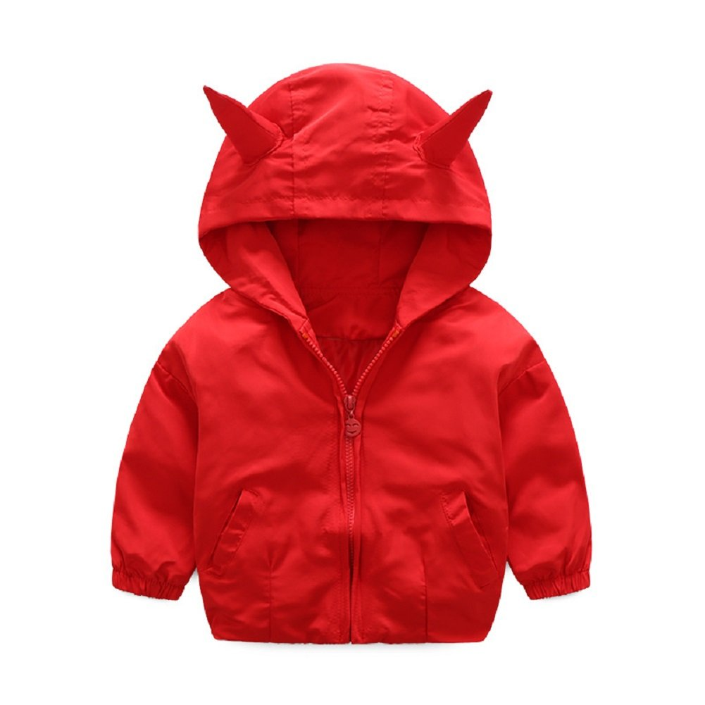 Rexury Little Boys Cartoon Floral Print Hooded Outwear Jackets Windbreaker Coat