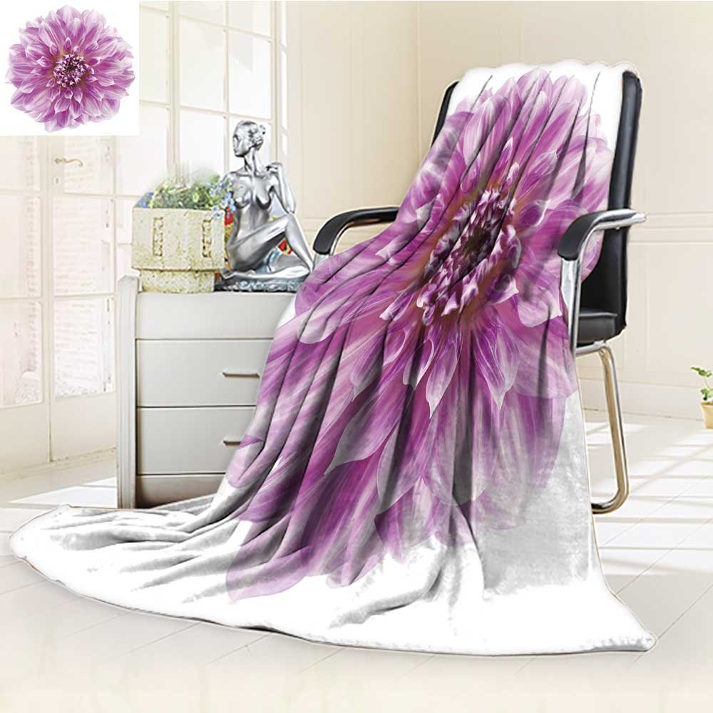 DOLLAR Blanket,studio shot of fuchsia colored dahlia flower isolated on white background large Traveling, Hiking, Camping, Full Queen, TV, Cabin, Couch, Bed Throw(60''x 50'')