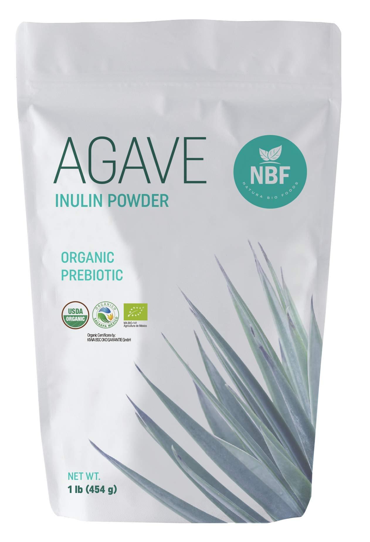 NATURA BIO FOODS Organic Agave Inulin Powder 1 lb 100% Fiber Prebiotic Supplement Low Glycemic Index by Natura Bio Foods