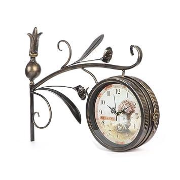 Reloj de pared de hierro retro europeo mudo reloj de pared Reloj de pared americano IKEA salón reloj de pared reloj de artesanía: Amazon.es: Hogar