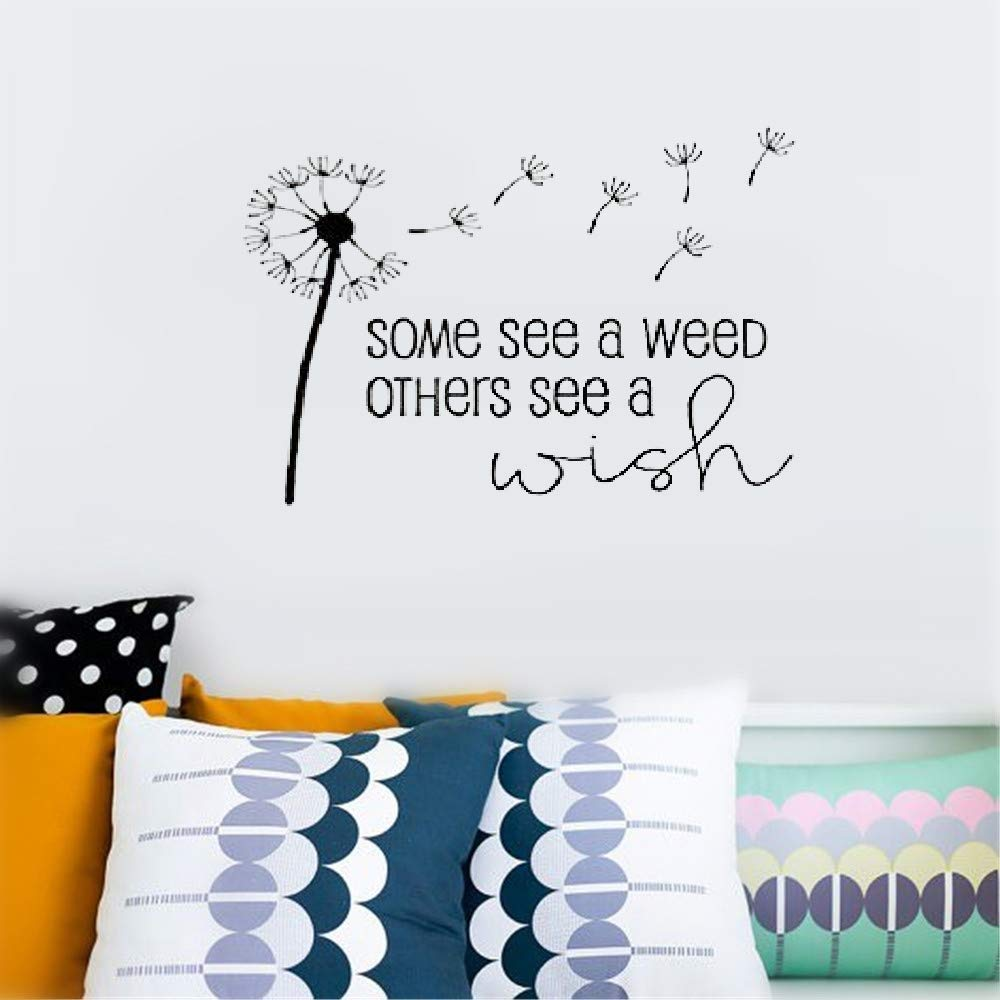 """Dozili Vinyl Wall Decal Sticker Wall Art Quote Decor Wall Sticker Some See A Weed Others See A Wish. Inspirational Motivational for Bedroom Living Room Hose Home Decoration Gift Idea 35.2"""" x 23.4"""""""