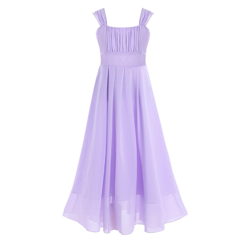 Flower Girl Dresses Sleeveless Real Wedding Party Dress Pageant Communion Long Little Flower Girls Dress,Lavender,Child-12