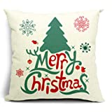 Merry Christmas Snow Cotton Linen Throw Pillow Case Cushion Cover Home Sofa Decorative 18 X 18 Inch ¡­