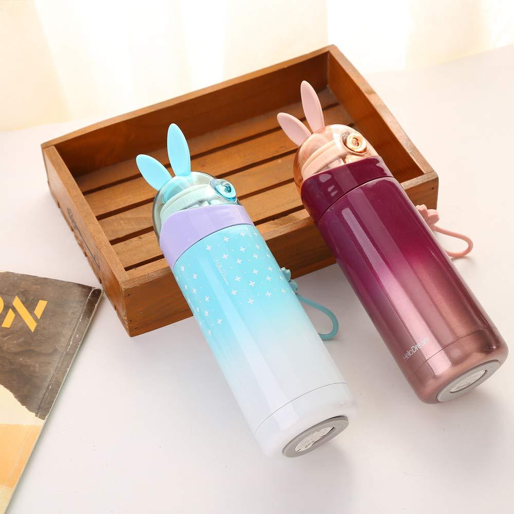 Klanis H-6017 Rabbit Present for Birthday Cute Girls Water Bottle Mini Travel Mug Navy Blue Kids Thermos 12OZ
