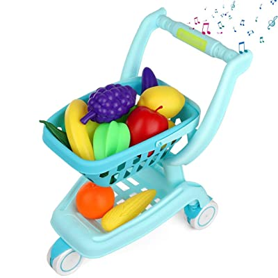 Auggie Kids Shopping Cart Grocery Cart Toy with Wheel Pretend Play Food Sounds Supermarket Store Playset Gifts for Toddler Boys Girls Age 2 3 4 5 Years Old: Toys & Games