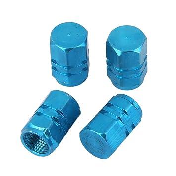 4x Tapas Tapones Válvulas Cubierta de Neumático Aluminio para LLanta de Camión Coche Azul: Amazon.es: Coche y moto