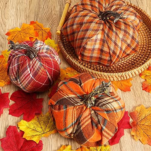 DomeStar Artificial Pumpkins, 3PCS Fabric Pumpkins Burlap Pumpkins Assorted Fake Pumpkins Plaid Pumpkins Farmhouse Pumpkins Fall Pumpkin for Halloween Thanksgiving Decorations