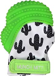 Munch Mitt Teething Mitten the Original Mom Invented Teething Toy- Teether Stays on Babys Hand for Pain Relief & Stimulation- Ideal Baby Shower Gift with Handy Travel/Laundry Bag- Green Cactus