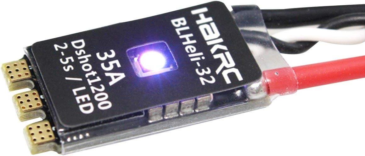 HAKRC BLHeli_32 bit 35A 2-5S ESC Soporte de LED Incorporado Dshot1200 Multishot para FPV RC Drone Aircraft Parte Accesorio (Negro) ESjasnyfall
