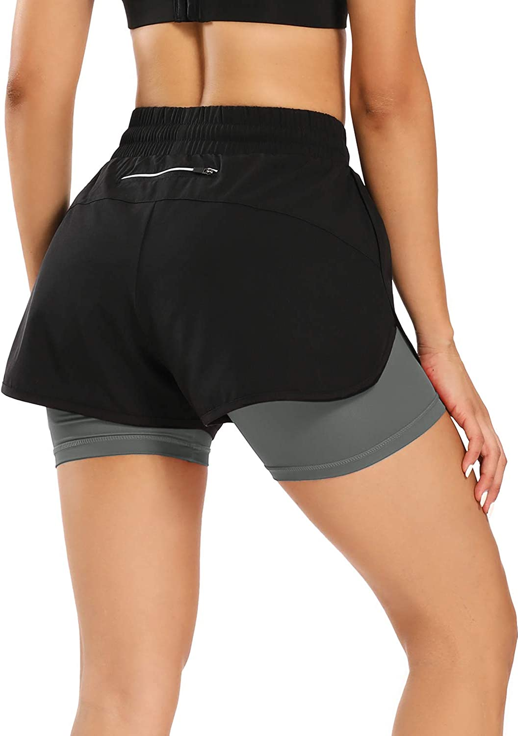 FIRST WAY Womens Athletic Running 2 in 1 Shorts with Pocket Drawstring Workout Traning Jogging Cycling Sports Shorts