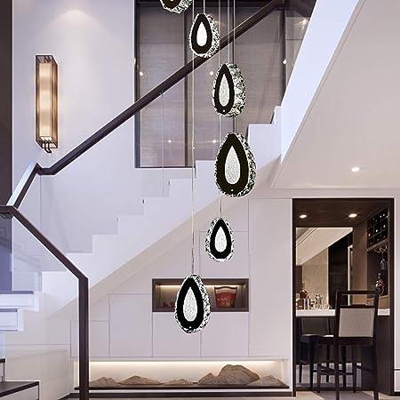 Estilo Europeo Crystal Villa Loft Escalera Corredor LED de la lámpara de Larga Moda Inicio Sala de Estar Hotel Cafe decoración de la lámpara 8 Fuente de luz (35 * 35 * 200 cm): Amazon.es: Hogar
