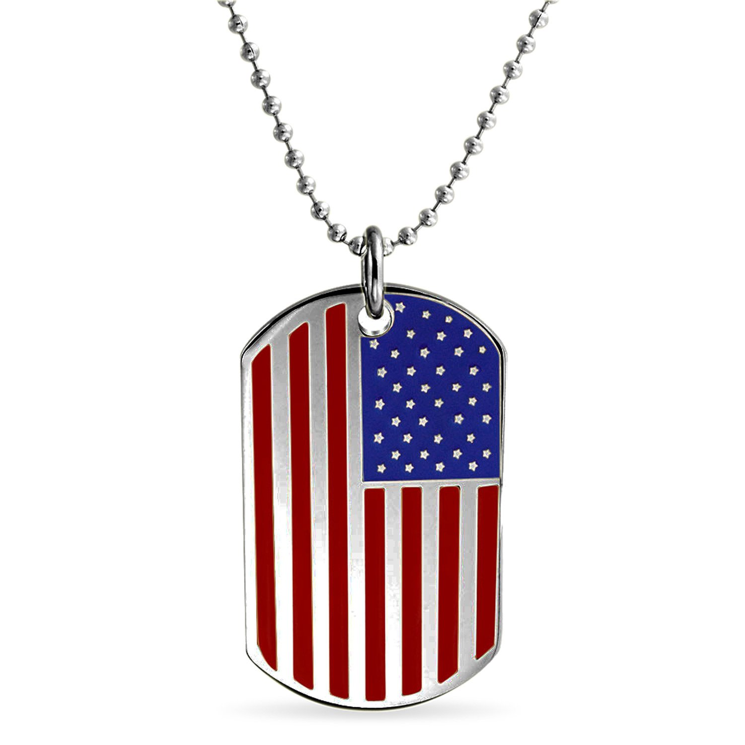 Bling Jewelry Patriotic USA Flag Dog Pendant Stainless Steel Necklace 19 Inches