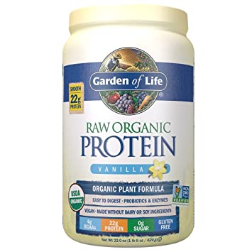 Garden of Life Organic Vegan Protein Powder with Vitamins and Probiotics - Raw Organic Plant Based Protein Shake, Sugar Free, Vanilla 22.0oz (1 lb 6 oz / 624g) Powder