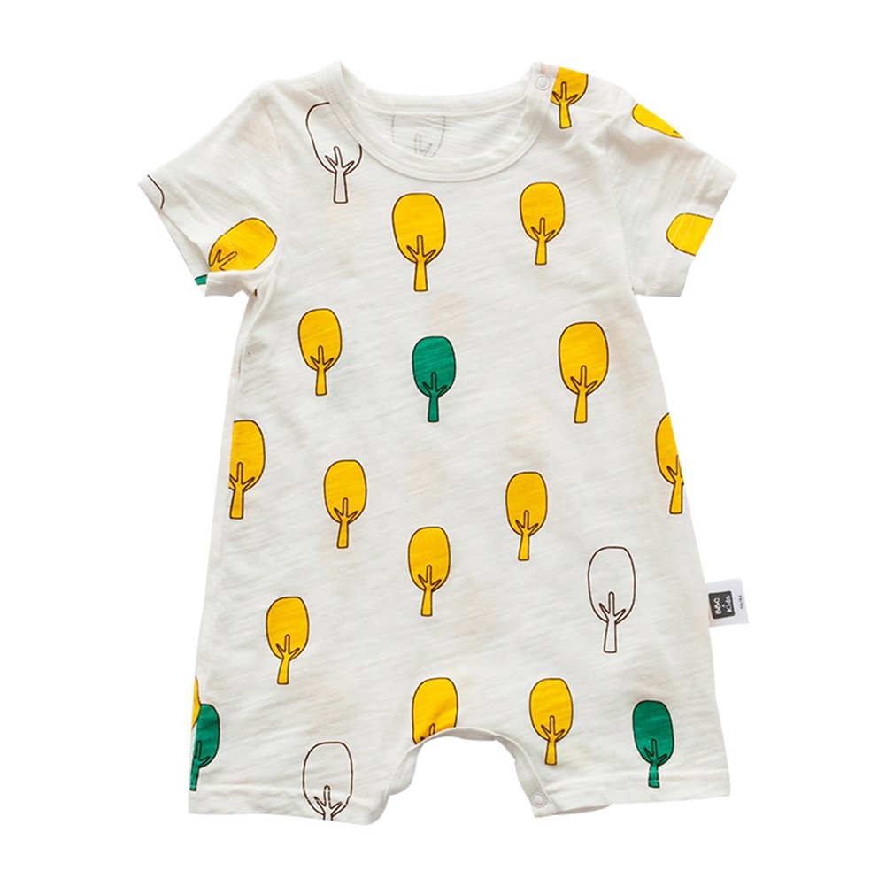ALLAIBB Newborn Baby Boys Girls Romper Cartoon Trees Patterns Short Sleeves
