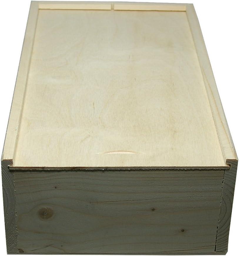 Faba Home - Estuche de regalo de madera para botellas de vino, con tapa deslizante, caja de madera sin tratar, madera, naturaleza, 2 Flaschen: Amazon.es: Hogar