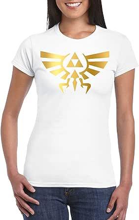 White Female Gildan Short Sleeve T-Shirt - legend of Zelda wingcrest - Gold design