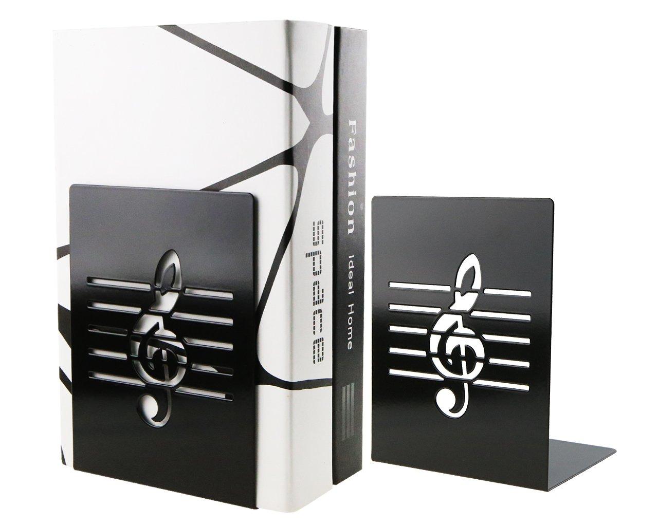 Une paire Noir Mode Creative Note de musique solide en métal support pour livre Serre-livres pour enfants amateurs de musique Décoration de bureau à domicile Dawa