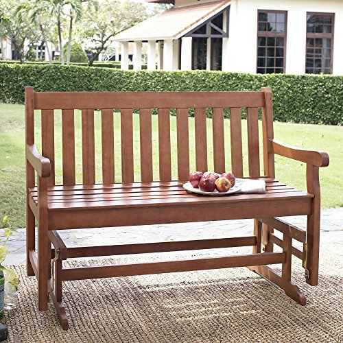 Outdoor Patio Wood Glider Bench Rocker Porch Wooden Loveseat Straight Back Furniture 4 ft.