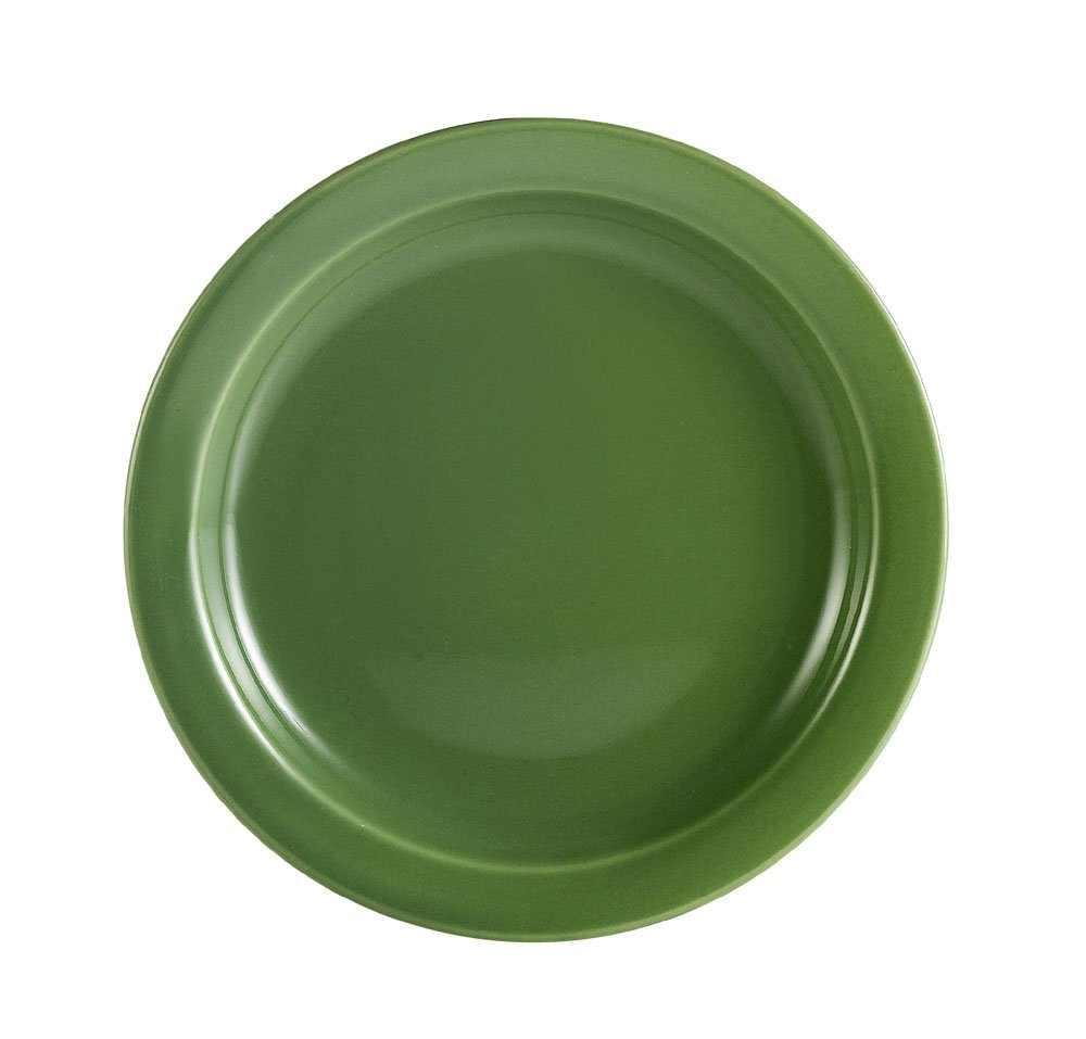 CAC China L-6NR-G Las Vegas Narrow Rim 6-1/2-Inch Green Stoneware Plate, Box of 36