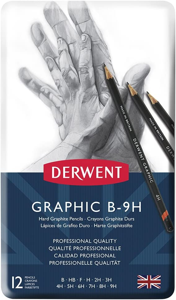 Derwent34214  Graphic Medium Graphite Drawing Pencils Professional Set of 12