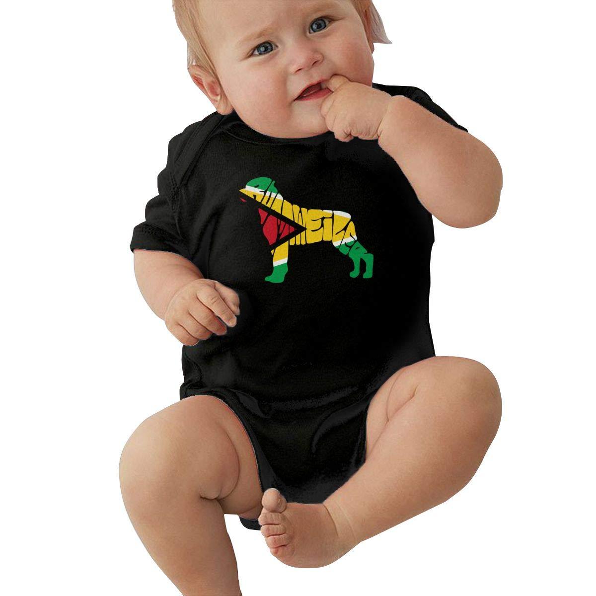 Mri-le2 Newborn Kids Short Sleeve Organic Bodysuit Guyana Flag Rottweiler Dog Toddler Jumpsuit