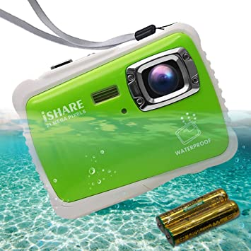 Amazon Com Ishare Kids Camera Kids Waterproof Camera For Girls Boys With 21mp Hd Underwater Digital Camera 2 0 Lcd 8x Digital Zoom Flash And Mic Green With 2batteries Camera Photo