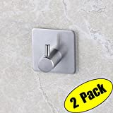 KES 3M Self Adhesive Hooks SUS 304 Stainless Steel Heavy Duty Small Coat Picture Hook Self Sitck On Wall Hook Sticky Brushed Finish 2 Pieces, A7060-P2
