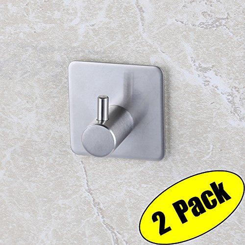KES 3M Self Adhesive Hooks SUS 304 Stainless Steel Heavy Duty Small Coat Picture Hook Self Sitck On Wall Hook Sticky Brushed Finish 2 Pieces, A7060-P2 (Steel Picture Polished Modern Brass)