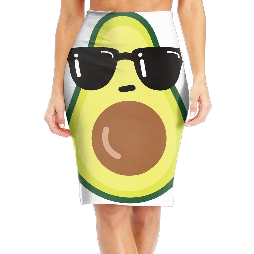 WOAIDY Cartoon Funny Avocado Icon With Sunglasses Women's Fashion Printed Pencil Skirt