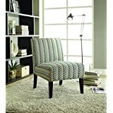 Coaster Home Furnishings 902059 Contemporary Leaf Armless Accent Chair, Blue and Beige