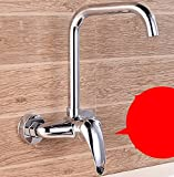 AWXJX Sink Taps kitchen copper balcony Into the wall Hot and cold Single handle Double hole