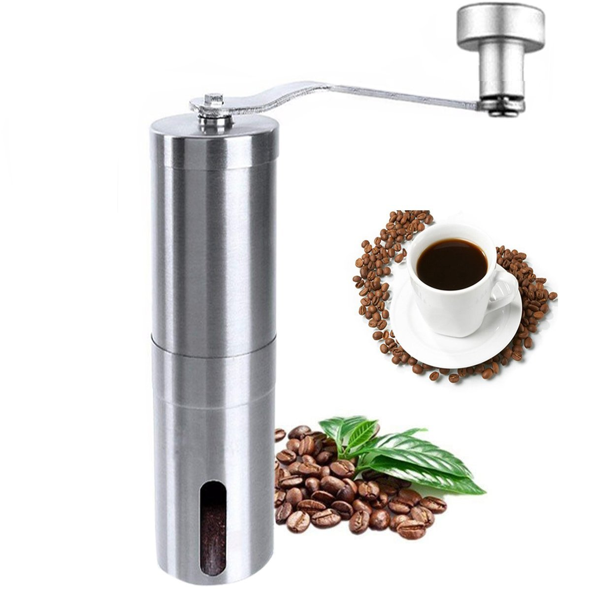 Manual Coffee Grinder, Stainless Steel Coffee Mill, Hand Burr Coffee Bean Grinder, Adjustable Grind Coarseness, Portable Ceramic Conical Burr Mill for Precision Brewing With Spoon and Cleaning Brush