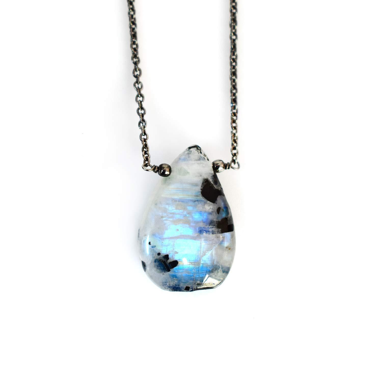 Natural Rainbow Moonstone Pear Shape Gemstone Cabochon Moonstone Pendant Size Gemstone 23x12x5 mm Blue Fire Moonstone Gemstone 9.85 Ct
