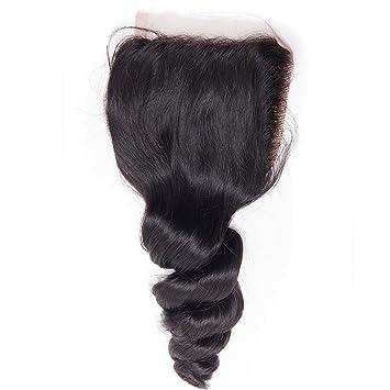 Nadula Brazilian Loose Wave Closure Remy Hair 4x4 Free Part Swiss Lace 130%  Density 100% Human
