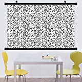 Gzhihine Wall Scroll Modern Decor Colorful Dots with Black Border Like Lines Geometrical Shapes Design Artwork Wall Hanging Multicolor 20''x60''