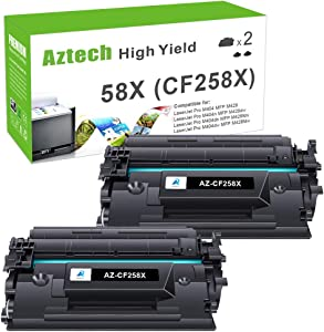 Aztech Compatible Toner Cartridge Replacement for HP 58X CF258X 58A CF258A Laserjet Pro M404n M404dn M404dw MFP M428fdw M428dw M428fdn (Black 2-Pack)