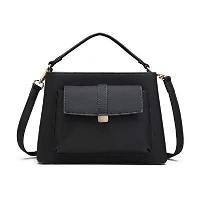 65d6888b097 Ladies Leather Look Designer Inspired Tote Metal Detail Shoulder Handbag  (Black)
