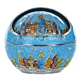 Honoro Vintage Windproof Ashtray with Lids,Metal Portable Cigarettes Ashtray for Outdoor and Indoor Use,Castle,Blue