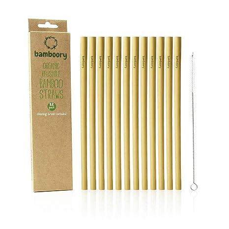 Cannucce Di Bamb.Set Di 12 Cannucce Di Bambu Riutilizzabili Con Pennello Di Pulizia 100 Organico