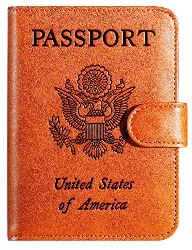 - Passport Holder Cover Wallet RFID Blocking Leather Card Case Travel Accessories for Women Men (Claybank)