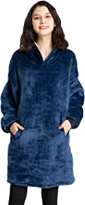 Cmtpuy Sweatshirt Blanket,Oversized Sherpa Hoodie,Fleece Blanket,Sherpa Pullover for Womens,Mens,Children,Wearable Blanket (Blue)
