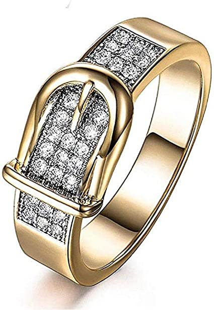 Amazon Com Ichq Simple Couple Ring Women S Fashion Creative Belt Shaped Gold Finger Ring Diamond Crystal Zirconia Engagement Jewelry Gift Sports Outdoors