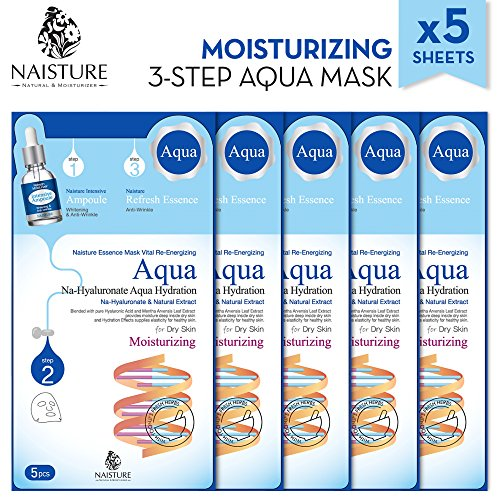 Mask Essence 5 Sheets (Naisture Aqua Face Mask Pack (5 Sheets), 3 Step Full Facial Treatment with Hyaluronic Acid for Dry Skin - Moisturizing Essence)