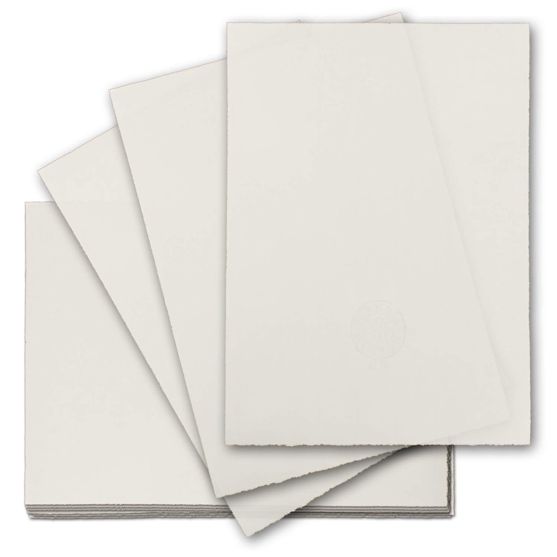 200x echtes Bütten-Papier DIN A4 Brief-Papier - ohne Wasserzeichen - Vintage-Papier handgemacht, 210 x 297 mm, Naturweiß - von Zerkall Bütten B07GT18B7T | Moderne Muster