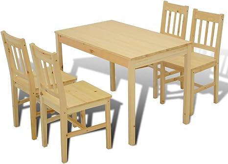 mewmewcat Mesa de Comedor de Cocina de Madera con 4 sillas a Juego Conjunto de Muebles de Habitación Juego de Mesa y sillas Conjunto: Amazon.es: Deportes y aire libre