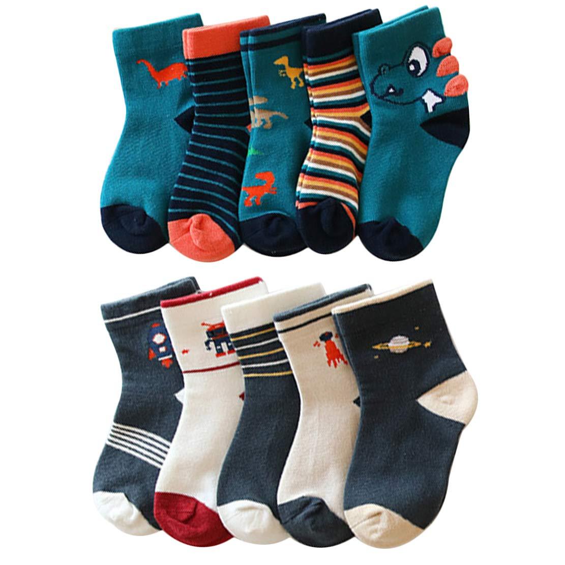 YANWANG 10 Pares de Calcetines para Niños Niñas Algodón Lindo 1-12 años