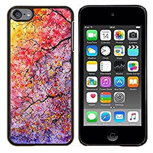 LECELL--Funda protectora / Cubierta / Piel For Apple iPod Touch 6 6th Touch6 -- Colores ramas de árbol hojas --