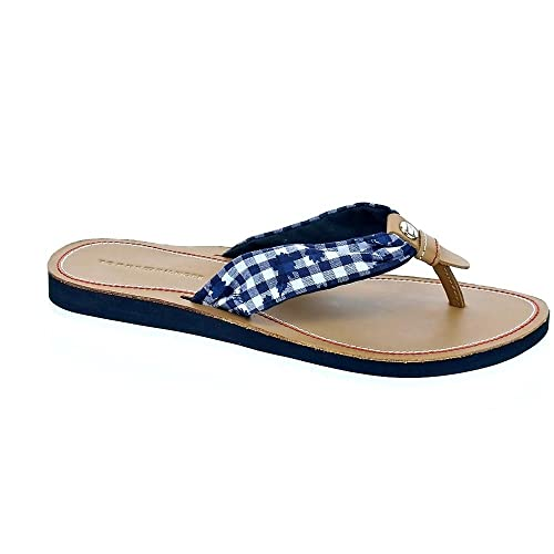 Tommy Hilfiger Chanclas Check Leather para mujer UJohE6Lo